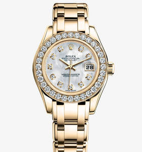 Replica Rolex Lady - Datejust Pearlmaster Watch : 18 ct gult guld - M80298 - 0070