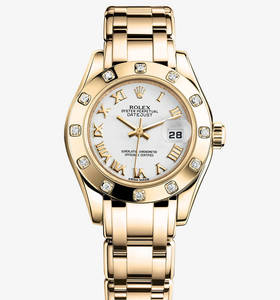 Replica Rolex Lady - Datejust Pearlmaster Watch : 18 ct gult guld - M80318 - 0054