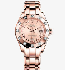 Replica Rolex Lady - Datejust Pearlmaster Watch : 18 ct Everose guld - M80315 - 0012