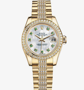 Replica Rolex Lady - Datejust Watch : 18 ct gult guld - M179138 - 0102